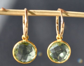 SALE Green Amethyst Earrings - Gold Hoop Earrings - February Birthstone Earrings
