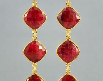 SALE Genuine Ruby Earrings - July Birthstone Jewelry - Ruby Jewelry - July Birthstone Earrings - Large Ruby Long Dangle Earrings
