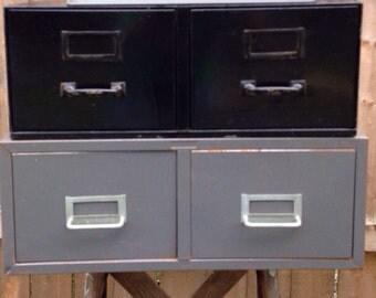 "Vintage file cabinet large 5"" x 8"" drawers"