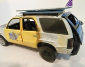 Classicwrecks, Scale Model, Rusted Cadillac, Surf Wagon, in White and Yellow,Scale Model Car