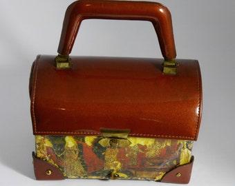 """Vintage couture  handbag """" NOCES DE BOIS """"unique piece  retro chic art bag steampunk bag french  touch"""