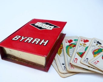 Vintage Playing Cards French in Promotional Tin Box Byrrh Rossi Promotional Cards Liquor Advertising Bar Decor Piquet