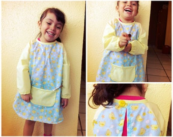 TWO APRONs SMOCKs Flower and Bear Children pattern Pdf sewing, Painting Overall Long Sleeve, toddler Size 12 18 m 2  3  4  5  6 yrs