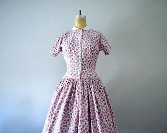 1950s Anne Fogarty dress . vintage 50s raspberry print dress