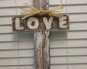 """Valentines Gift Large 22"""" Rustic Wood Cross Wedding Shabby Chic Love Raffia Country Cottage Beach House Cypress Wood"""
