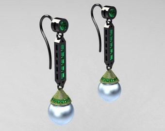 Zabel - Modern Classic 14K Two Tone Black and Green Gold Sky Blue Freshwater Pearl Emerald Drop Earrings E101-14KTTBGGEMSBP
