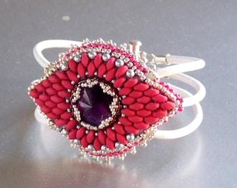 Free Shipping, Candyman,  Bead Embroidery, Bracelet , Statement cuff, Seed bead bracelet, Silver, Magenta, White,Swarovski