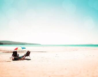 beach photography ocean beach umbrella nautical decor coastal 8x10 24x36 fine art photography summer blue sky rainbow beach aqua cream large