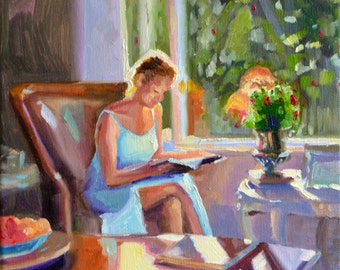 Art Print of Original painting of IN THOUGHT a seated figure, Interior painting, sun drenched, Oil on Canvas