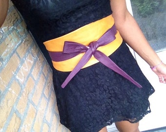 Mosterd and purple genuine leather obi belt, waist cincher, corset belt, high waisted belt, wrap on belt