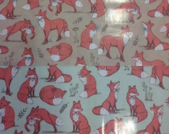 Mrs fox woodland pvc coated 100% cotton fabric in taupe or duckegg by the half metre