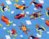Airplanes Print Fleece Fabric Sky Blue by the yard