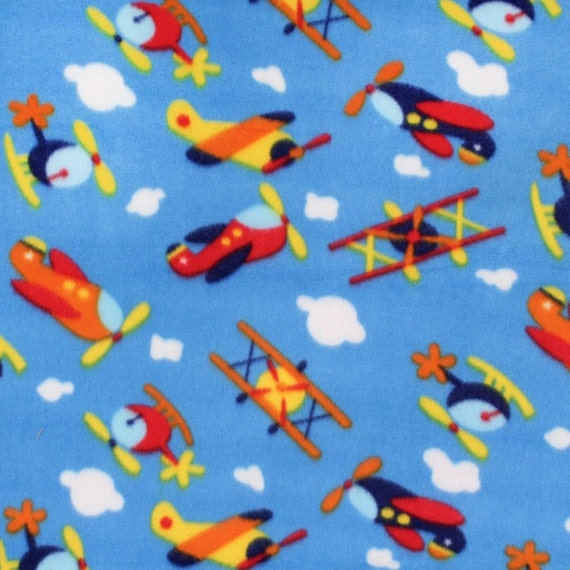 airplanes print fleece fabric sky blue by the yard