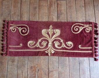 Antique French table runner hand embroidered velvet runner or window canopy pelmet valance w bobble trimming, RARE French table linens