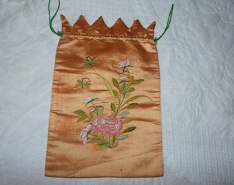 Antique French hand embroidered silk bag pouch purse pocket w floral hand embroidery w flowers, French silk w embroidery, French boudoir
