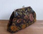 Vintage 60's Carpet Tapestry Rose Floral Framed Clutch Bag