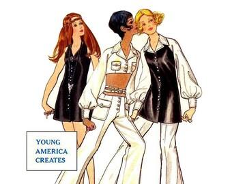 1960s Mod Top Pants Mini Dress Pattern Midriff Top Hip Hugger Pants Bell Bottoms Pirate Sleeve Butterick 5724 Bust 34 Vintage Sewing Pattern