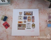 Perfume Label Vintage Decal Set B for Dollhouse Miniature