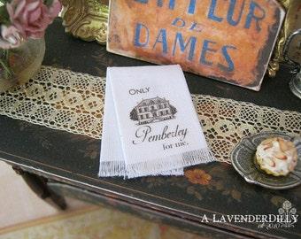 Pemberley Jane Austen Towel for Dollhouse, 1:12 scale