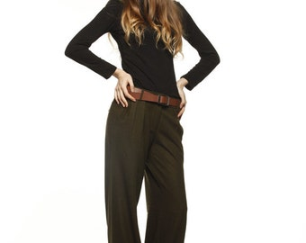 On Sale Size S New Design Casual Army Green Fine Wide Legs Long Woolen Pants - NC476-3