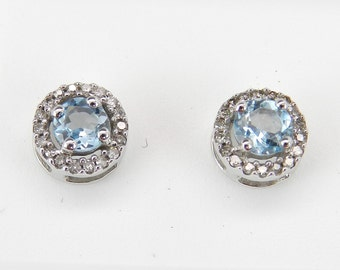 Aquamarine and Diamond Stud Earrings Halo Studs Earring Set in White Gold
