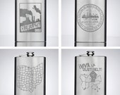 8 oz. Stainless Steel Flasks (Cleveland Smokestacks, Cleveland City Seal, Ohio Counties, and Viva La Rust Belt Designs)