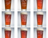 16 oz. Sand Blasted Pint Glasses (in nine different APE MADE Cleveland, Ohio, and Rust Belt Designs)