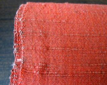Vintage handwoven rust cotton fabric