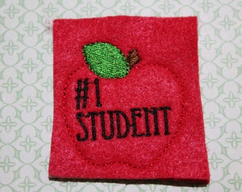 Apple number one Student feltie, on red felt, set of four for hair accessories, scrapbooking, and crafts