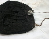 Lace purse ~ Gorgeous Vintage Black small purse ~ Rhinestones Fastener ~ Old Soft Lace Covered / Chain Handle