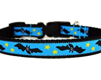"Halloween Dog Collar 3/4"" Bat Dog Collar"