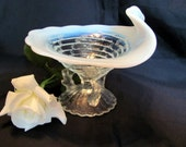 Northwood Ocean Shell White Opalescent Whimsy Dish with Twig Legs on Pedestal