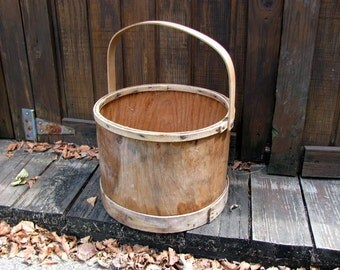 Old Wood Firkin / Wood Sugar Bucket / Wood Pail / Shaker Style Wood Bucket