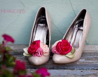 Flower  Shoe Clips - Floral Shoe Clips - Bouquet  Shoe Clips - Bridal  Shoe Clips - Wedding Shoe Clips- shoe decoration