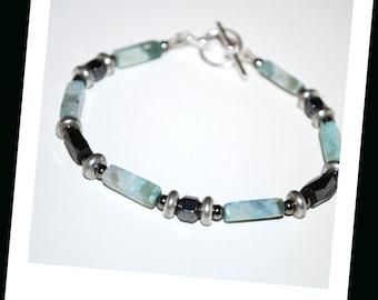 Men's Turquoise Jasper Hematite Bracelet, Men's Turquoise Jasper Bracelet, Men's Jasper Bracelet, Rectangle Bead Bracelet, Stone Bracelet