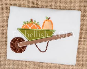 Pumpkin Wheelbarrow Fall Monogram Shirt or Bodysuit