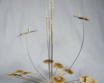 large DS Hulbert, Mid Century Modern, Bronze Table Sculpture, Ducks with Cattails on Alabaster Base, C. Jere era