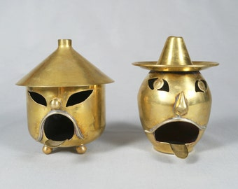 2 Modernist Mexican Brass Character Ashtray, Taxco, Los Castillo, 1920s