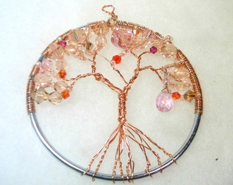 Beaded Tree of Life Sun Catcher -  Peachy Pink Glass Beads on Copper Tree - OOAK 1552