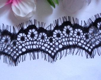 1 1/2  inches wide  delicate black Eyelash Lace Trim 3 yard  cut