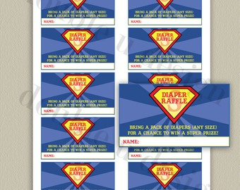 INSTANT DOWNLOAD - Superman Diaper Raffle Tickets - Baby Shower Game - Printable DIY