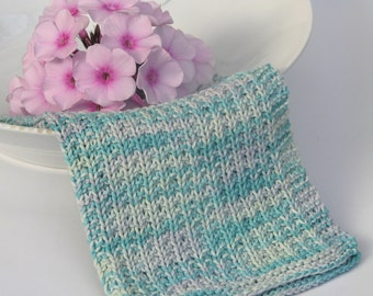 Hand knitted dish cloth - wash cloth - soft cotton mint green grey multicolored