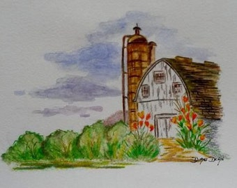 Original Colored Pencil and Watercolor Painting of White Barn