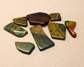 Tumbled Stones. Bloodstone. Flat. Gemstone Undrilled. Wire Wrapping Stone. 18mm - 30mm. One (1) Stone.