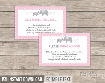 Bring a Book Card - Elephant Baby Shower - Girl Pink - Bring a Book Insert - INSTANT DOWNLOAD - Printable PDF with Editable Text