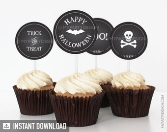 Black & White Halloween Party - Cupcake Toppers - Party Circles - INSTANT DOWNLOAD - Printable PDF