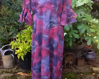 Original Vintage 1970s Dusky Pinks and Greys Floaty Dress