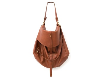 Brown leather bag,fully lined with strong cotton fabric - Soft Leather Bag - lightweight, strong and fits comfortably over the shoulder