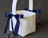 Ivory lace wedding flower girl basket with navy blue satin ribbon bows