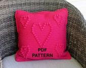 Crochet Hearts Pillow Pattern - Crochet Pillow - Crochet Pillow Pattern